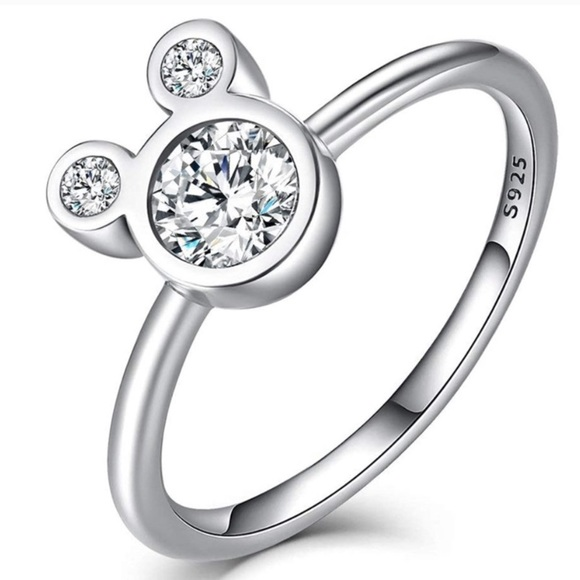 .925 Sterling Silver Disney & CZ Mickey Mouse Ring